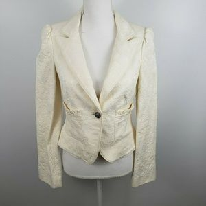 Bebe floral white blazer jacket formal wedding 6